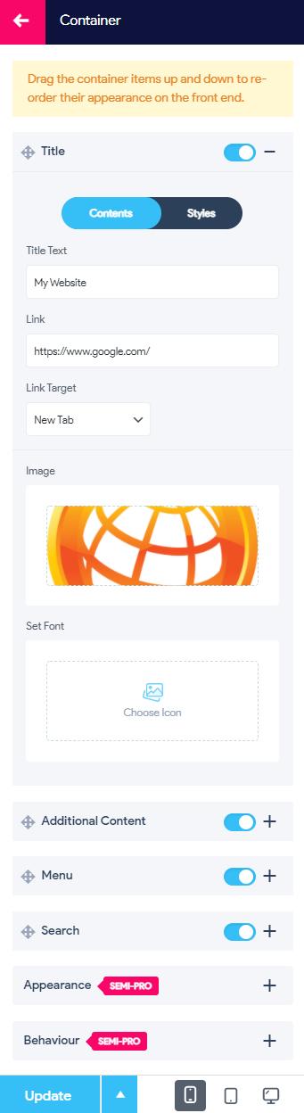 Create a Hamburger Menu on a WordPress Website - Configuring Menu Container