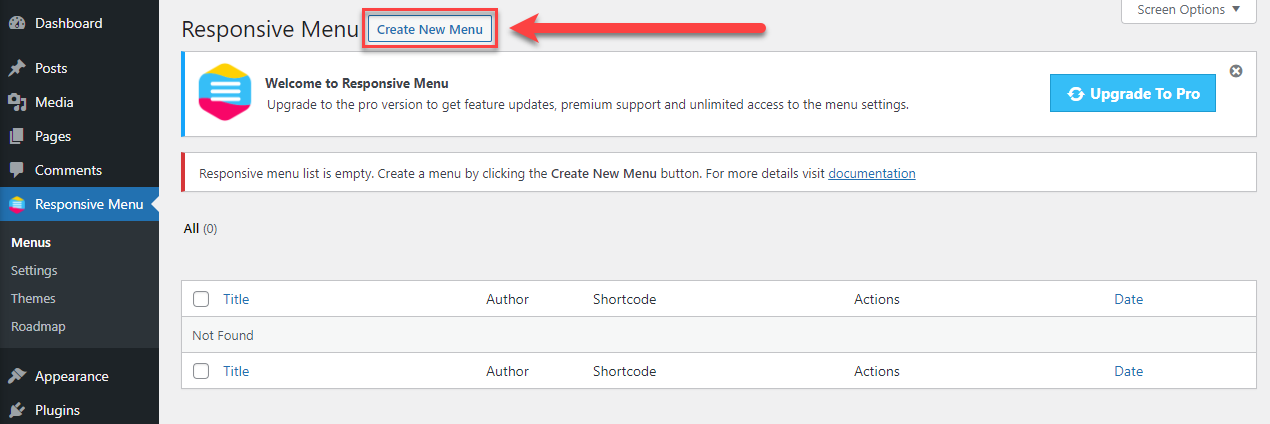 Create a Hamburger Menu on a WordPress Website - Creating a New Menu