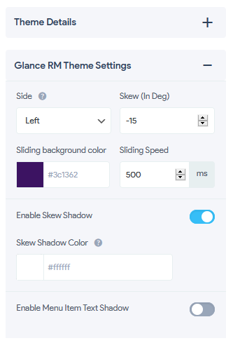 Glance RM Theme - Theme Settings