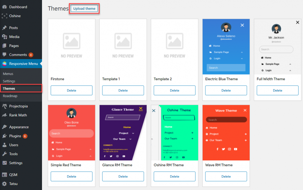 How to Add a Theme to Responsive Menu - Method One from Sidebar