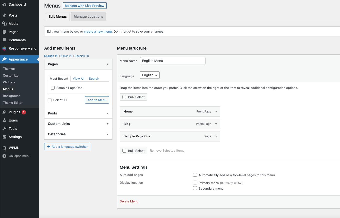 Integrate Responsive Menu with WPML - Creating English Menu