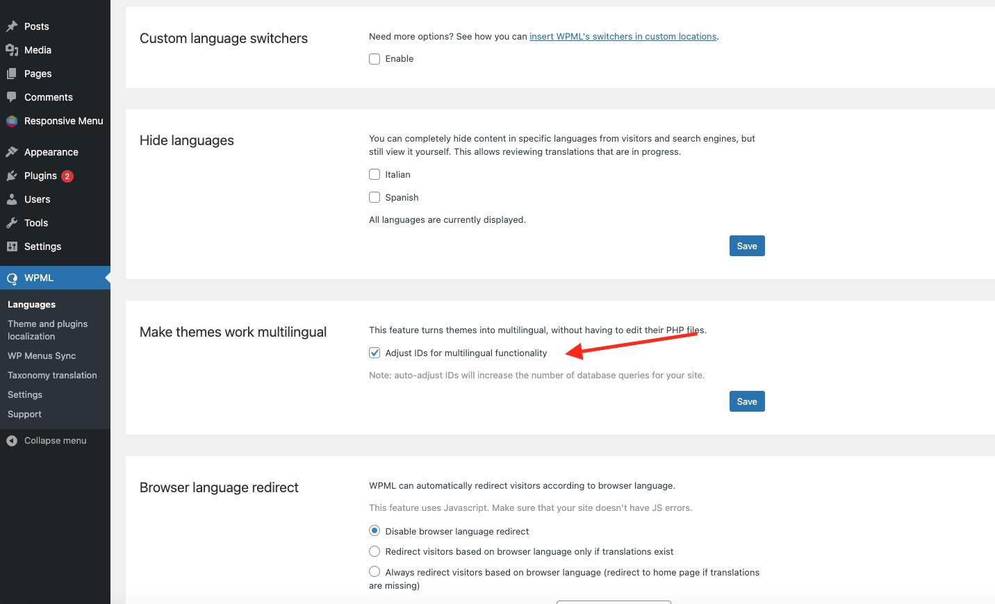 Integrate Responsive Menu with WPML - Make Theme work multi-lingual New