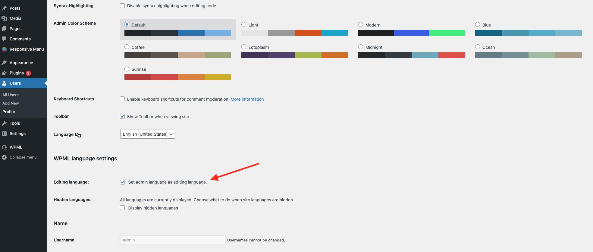 Integrate Responsive Menu with WPML - Set admin language New
