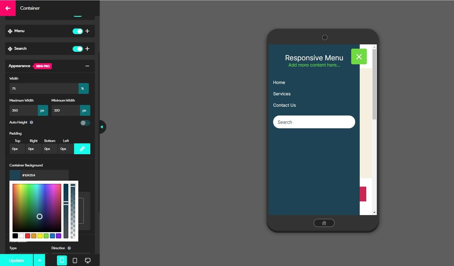 Responsive Menu v4.1.2 introduces Dark Mode - Dark Mode in Action
