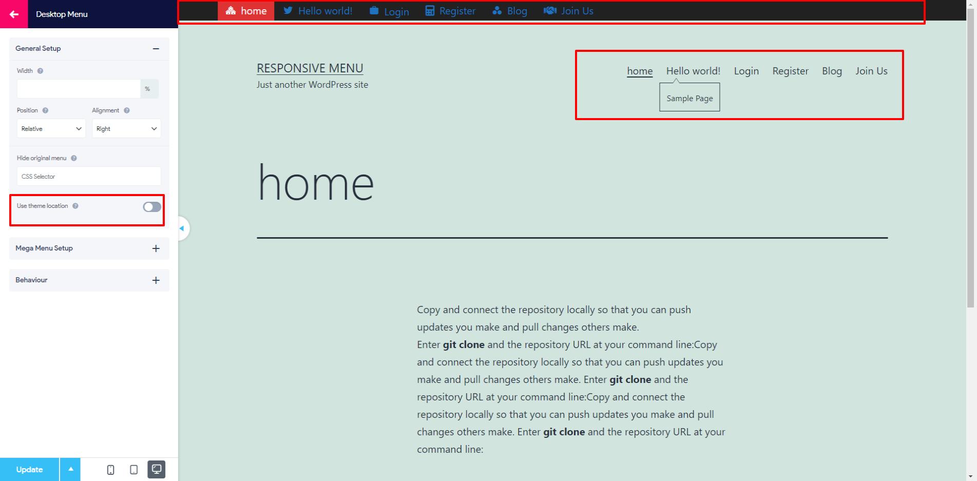Theme Location Feature for Desktop Menu - Image 1