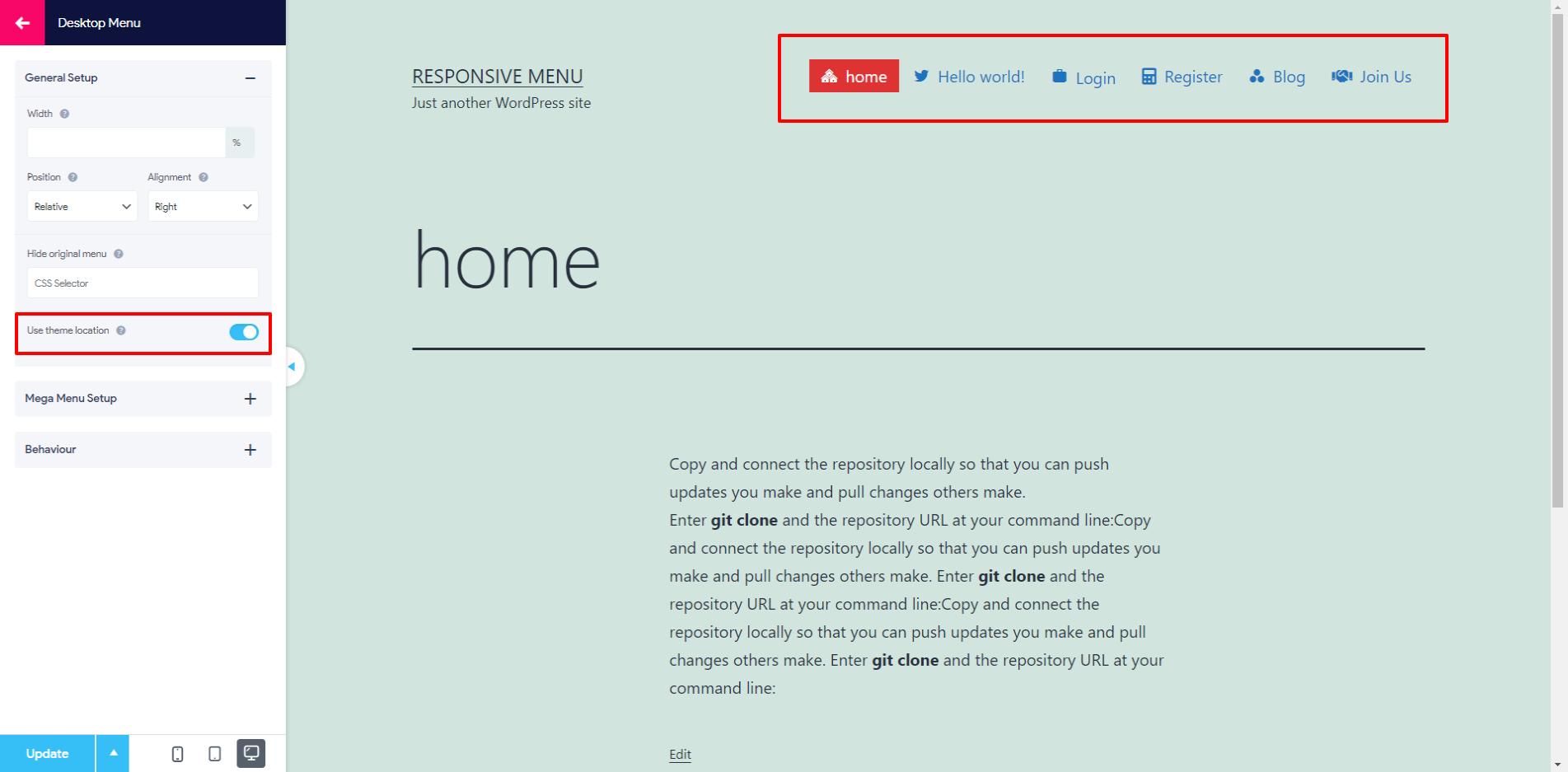 Theme Location Feature for Desktop Menu - Image 2