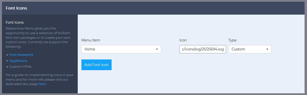 responsive menu home icon